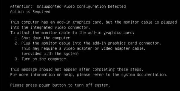 PCについては全くの初心者なのですが、モニターとの接続がうまくいかなく困っています。 知識量も調べたあり合わせのものだけなので、説明が拙いのですが、ぜひご教示いただけると嬉しいです。 使っているデスクトップはDELL XPS 8500、 モニターは、ViewSonic VX2476-smhd、 グラフィックボードはAMD Radeon HD7470 GDDR5です。 PCとモニターの接続は、二ヶ月前までは自宅にあるHTML(突然つかなくなり、ケーブルを変えてもつかないので、PCのHDMI端子の故障かなと放置中です)、現在はD-subのみで繋げています。グラフィックボードにはDisplay portとDVIしか直接接続できず、また持っていないのでずっとマザーボードに接続してPCを使っていました。 それでも、画質など?が劣るなとかは感じたことがなく、PCで動画配信サービスをよく視聴していました。(解釈違いならすみません) ですが、昨日デスクトップの電源をつけると、4回ピープ音がなり、DELLのサイトによると4回のピープ音はメモリの異常であるとのことなので、一度PCのケースを開け、埃を取り、メモリカードを付け直しました。 その際にグラフィックボードのファンにも埃が溜まっていたので、拡張スロットから外し、埃を取り、また付け直しました。 その後、ピープ音はならなくなり、無事電源がついたのですが、次はモニターとの接続でエラーが出てしまっています。 エラーは下記画像(お借りしました)と同じ内容です。 文を読むと「グラフィックボードが入ってるのに、プラグがついてないからつけれないよ〜」ということだと思うのですが、今までも接続していなかったのに突然接続が必要になった原因がわかりません。 今まではグラフィックボードが埃などで作動しておらず、掃除したことで正常に作動したためこのようになったのでしょうか...? どうかご教示お願いします。