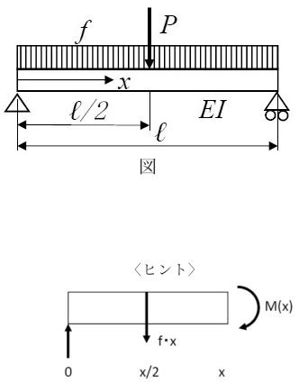 この材料力学の問題を教えて下さい。 図において、中点(x=ℓ/2)におけるたわみを求めなさい。 <ヒント> 中央を境に左右対称なので,左半分のみで考えて良い(x=0~ℓ/2の範囲,区間分け不...