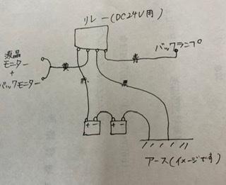 ISUZU バックカメラの取り付け配線についての相談です。 自家使用している2tトラックにバックカメラを取り付けようと思っております。 リレーを用いて配線するのですがこんな感じでよろしいでしょ...