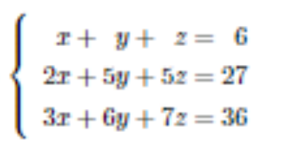 次の1次方程式を拡大係数行列[A|bベクトル]を行基本変形する方式で解きなさいという問題です。分からないので式と答えを教えてください