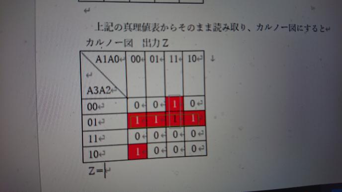 このカルノー図の論理式を教えてください。