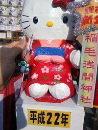 千葉市の稲毛浅間神社は、キティちゃんのサンリオと何か提携して いるのですか?  お正月に稲毛浅間神社に行くと、 毎年本堂の横にキティちゃんがいます。  そればかりか、「ハローキティ守り」というお守り...