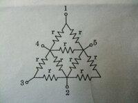 下の画像の1-2、1-3、1-4、4-5の端子間抵抗Rの求め方を教えてください。各枝路の抵抗値はrΩです。