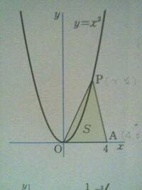 中3の関数の問題の解き方を教えてください!   y=x2乗のグラフ上の点P(x,y)、原点O、点A(4,0)を頂点とする△POAの面積をSとして次の問いに答えなさい 。  Sをxの式で表しなさい。   この問いの答えは2x2乗になる...
