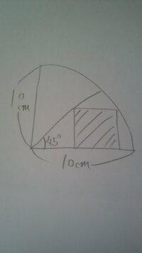 正方形の面積 下の図の正方形の面積の出し方を教えてください!!   解説もよろしくお願い致します☆   ※円周率はπでお願いします♪