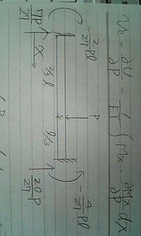 構造力学の問題でわからないことがあります。 両端固定梁のたわみを求める問題です。 写真のような両端固定梁があります。MA、MB、RA、RBは未知数だったのですがそれぞれ、-2pl/27、-4pl/27、7P/27、20P/27と求めましたが、たわみVcをカステリアノー(カスチリアノ)の定理を用いて求めるやり方がわかりません。 梁の図の上にあるような式を用いるのですが、詳しい方何卒回答よろ...