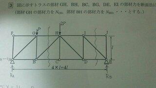 トラス,部材力,各支点反力,部材GH,下図,部材BG,添付写真①図