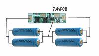 リチウムイオン二次電池で電池パックを作ろうとしています サイズの制限があって18650などの容量の大きい電池が使えないもので、添付画像のように、保護回路なしの14500 900mAhを4本使い、2本並列を二組作り、そ...