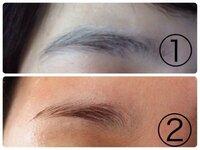 ①は私の眉毛で ②はなりたい眉毛です。  初めて脱色するんですけど(エピラット 敏感肌用で)、10分放置して、染まってなかったら、五分追加。  これで染まりますかね?  私結構眉毛太いです…