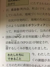 中3です。 歴史ではNPOのことを非営利団体と習ったのですが公民では非営利組織と書いてあります。もし公民のテストで非営利団体と書いたら、間違いですか