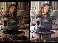 この二枚画像はハリーポッターのハーマイオニーの画像ですが、一枚はパンチラしています。これは合成ですか?