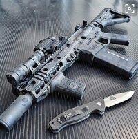この銃のハンドガードの名称分かる方教えてください。 民間系ar15のカスタム銃の画像だと思いますが、分かる方教えて頂きたいです。よろしくお願いします。