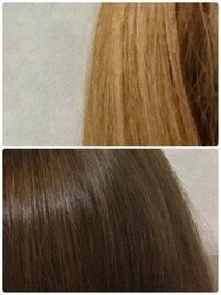 ブリーチを一回して金髪(ほぼ黄色)になった髪をダークブラウンにする方法はありますか? 美容院で6レベルのブラウンを入れてもらいましたが黄色が強く金髪よりで恥ずかしいです。  上がブリーチ後、下がブリーチ→...