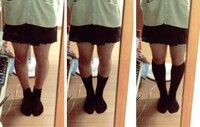 女子高生です 靴下の長さで迷っています ①一番細く見えるやつ ②好きな長さ それぞれ教えてください
