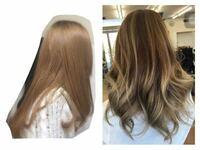 バレイヤージュってWカラーですか? 現在画像(左)のような金髪なのですが、 伸びてきた部分に気を使うのが面倒なので バレイヤージュで黒髪を目立たないようにして、最後には髪を伸ばして全て地毛に戻そうと考え...