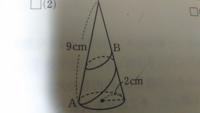 ひもの長さが最短となるとき、その長さを求めよ。Bは母線や辺の中点である。