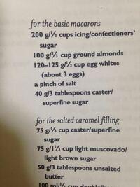 マカロンのレシピなのですが、何が200gでなにが1/2カップなのか、読み方がわかりません。教えてください!