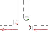 自転車で赤の矢印にそって進むとします。 車道の信号が赤の場合 自転車は止まりますか?