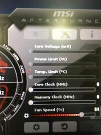msiのアフターバーナーの設定ですが下の画像のpowerと温度の変更ができません、どこをいじればいいですか?