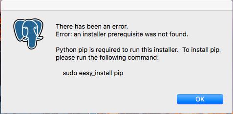 インストールしようとするとエラーが出て来てしまいます(Mac OS X) postgresql (postgresql-9.6.5-osx64.dmg) をダウンロードし、インストールしようと...