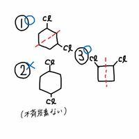 有機化学のメソ化合物を選ぶ問題で質問です。 ①1,3-ジクロロシクロヘキサン ②1,4-ジクロロシクロヘキサン ③1,2-ジクロロシクロブタン  この3つの中でメソ化合物は①と③でした。 どうして②は違うのかで まず不斉炭素がないため、と言われたのですが シクロ環の不斉炭素の見方ががよく分かっていません。 ①③は不斉炭素ありで②はなしの見方を教えて欲しいです!  (絵の赤い点線は鏡面です)