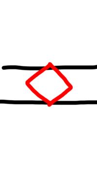 クレーンゲームの橋渡しの取り方について。  橋渡し設定の景品の取り方が分からず困っています。初期位置の景品が真っ直ぐに置かれている場合だと取り方は分かるのですが、斜めに置かれている と取り方が分かりません。ちなみに景品は正方形の箱型です。  簡単に図にすると下のような感じです。黒線がバー、赤が景品です。