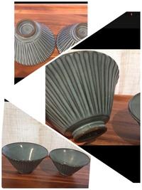 こちらと全く同じ茶碗を探しています 流石にこれでは情報量が乏しいですが…  メーカーなどわかる方がいたら助かりますが分からなければ検索する上でキーワードになるものを教えてください 例 波佐見焼 しのぎ      陶器 陶器市