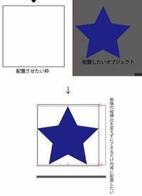 Illustrator CS5 元々ある四角に、画像(オブジェクト)を縦横比を変えずにできるだけ均等に配置したいです。 そのような事は可能ですか?  ※画像は目分量で配置したものです。