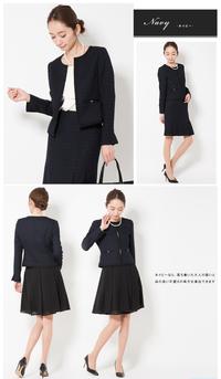 子供の卒園式での母の服装です。 写真(下の段)のように、暗めのネイビーノーカラージャケットに黒のシフォンスカートで式に参加しようと思っていますが、問題ないでしょうか?