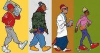 HIPHOPカルチャー、ストリートファッションについての質問です。オールドスクール時代から現在までのストリートファッションの移り変わりを表した有名な画像があります。左から80's 90's 00's 10'sのファッション...