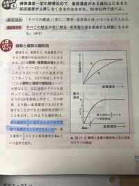 高校生物 酵素 基質 反応速度 親和性 青線部の所なんですが、なぜ、最大速度の1/2で比較するんですか?あと、なぜ、上図は違うのに、下図は一致してるんですか?なるべく省略せずに教えてください。お願いします。