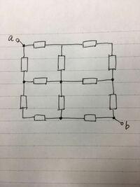 抵抗は全て4[Ω]です。 端子a~bから見た合成抵抗Rabの値の求め方を教えてください。