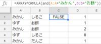 これはGoogleスプレッドシートのバグですか? 配列数式 ArrayFormua関数  こういうデータがあります  A列 B列 みかん しるこ ゆず お餅 みかん お餅 ゆず しるこ みかん だんご  C1セルに次の式を...