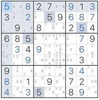 ナンプレ(数独)が得意な方。 いくら考えても次の一手が分かりません。 小さい数字はこのマスに入り得る数字です。 次の一手をできれば理論と共に教えていだだきたいです。