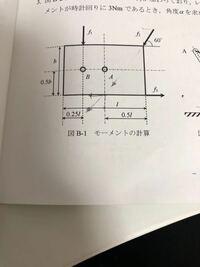 f1=5 f2=6 f3=4 l=2 b=1.2 のとき、点A周りの力のモーメントの求め方を教えてください。また、モーメントは反時計回りを正とします