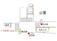 丁字路の交差点で、一方向だけが黄色点滅で他の2方向が赤点滅の変わった交差点があります。 歩行者押しボタン信号で歩行者のいないときは、ずっと点滅状態です。 図のような状況になったときの優先順位はどうな...