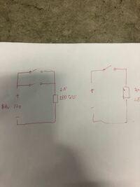 車LED 直流回路 スイッチ並列について 一般的には右の図ですが 左の図のようにスイッチを並列に2個つけて過って2個同時に投入した場合問題はありますでしょうか? (住宅の3路スイッチのようにしたいわけではあり...