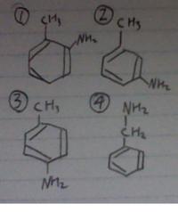 高校化学です。 分子式C7H9Nで表される化合物のうち、ベンゼン環をもつ構造異性体は5つあるそうですが、 あと1つがわからないので教えてください。