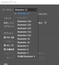 illustratorでバージョンを下げて保存したいです。  現在cc2019を使用しているのですが、 印刷会社に入稿をする際にcc2014(以下)のバージョンで保存をしたいです。 バージョンを下げて保存する方法は調べて分かったのですが、 「cc2014」という項目が見当たりません。 画像の「illustrator cc」で保存をすれば大丈夫でしょうか?