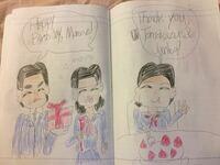 左から三浦友和、桜田淳子、山口百恵です。百恵ちゃんの誕生日のイラストです。どう思いますか? 友和・淳子「Happy birthday,Momoe!」 百恵「Thank you,Tomokazu and Junko!」
