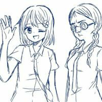 大喜利。  次のイラストは、 「可愛いけど頭が弱い女の子」と、 「○スだけど勉学優秀で聡明な女の子」です。  会話を考えてみて下さいますか?