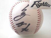 プロ野球のサインボールについて 誰のサインなのか詳しい方がおりましたら 教えてください。ボールにはファイターズの ロゴがプリントされています。 宜しくお願い致します。