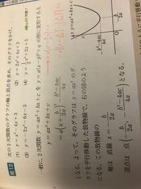 二次関数の赤字はどういう意味ですか? 平方完成なのはわかるのですが、式の意味がわかりません。