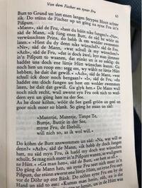 レクラム文庫から出ているグリム童話(Brüder Grimm ausgewählte Kinder-und Hausmärchen )を読んでいるのですが、vor dem Fischer un syner Fruという物語で、ドイツ語と何か他の言語の単語が混合した文章のよう...