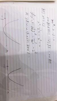 二次関数です 解答と丸々同じように書きました なぜ2つの解が-1より大きいときの条件で接するときがあるのでしょうか? またm>0となる条件はどこで判断できるのですか?