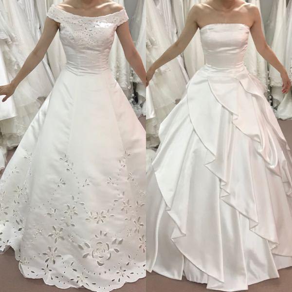 ウエディングドレスの試着写真です。 どちらのウエディングドレスの方が痩せて見えますか? どちら...