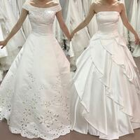 ウエディングドレスの試着写真です。 どちらのウエディングドレスの方が痩せて見えますか? どちらが美しく見えるでしょうか?
