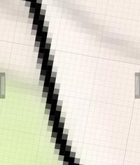 イラスト描画ツールメディバンで、キャンパスがドットピクセルのようにガビガビになるのは仕様ですか?設定によって直せますか?