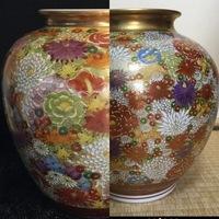 九谷焼 花詰について  画像が不鮮明で申し訳ないですが、 左右どちらの作品の方が価値があるものと見受けられますでしょうか。 九谷焼にお詳しい方がいらっしゃいましたらご教授ください。