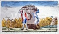 フランス革命の風刺画について質問です。 小学校や中学校の歴史の教科書で、フランス革命前の様子として、特権身分の2人が平民を租税や賦役と書かれた岩手押しつぶしている風刺画と、下の画像の風刺画がよく比べ...